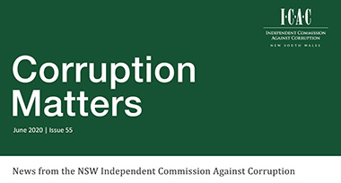 screenshot of latest Corruption Matters newsletter