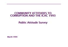 Community attitudes to Corruption and the ICAC public attitudes survey 1993 cover