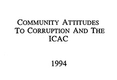Community attitudes to corruption and the ICAC - 1994 cover