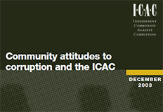 Community attitudes to corruption and the ICAC cover