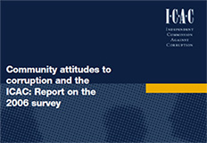 Community attitudes to corruption and the ICAC, Report on the 2006 survey cover