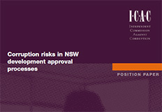 Corruption risks in NSW development approval processes - Position paper cover