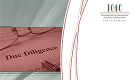 Cover of the Supplier Due dilgence report contaning the ICAC logo and an image o freading glasses and pencil sitting on paper with typed words Due Diligence.