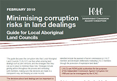 Minimising corruption risks in land dealings - Guide for Local Aboriginal Land Council cover