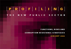 Profiling the NSW Public Sector, Functions, risks and corruption resistance strategy cover