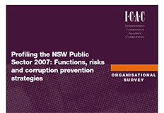 Profiling the NSW Public Sector 2007, Functions, risks and corruption prevention strategics cover