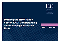 Profiling the NSW Public Sector 2007, Understanding and managing corruption risks - Staff survey cover