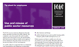 Use and misuse of public sector resources - Tip sheet for employees cover