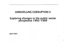 Unravelling Corruption II - Exploring changes in the Public Sector Perspective 1993-1999 cover