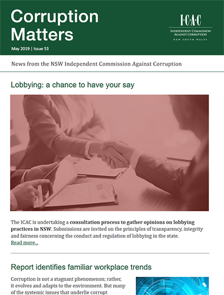 screenshot of Corruption Matters newsletter